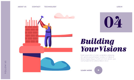 Builder Engineering Bridge with Brick and Hammer Landing Page. Architect Man Building Gate. Worker Engineer Construct Architecture Object Website or Web Page. Flat Cartoon Vector Illustration Illustration