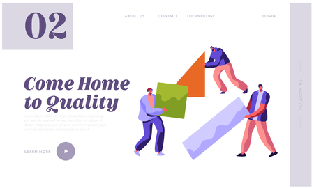Human Builder Construction Color Home Landing Page. Man in Process Job. People Carry New Part Material for Build Work. Stage Project Building for Website or Web Page Flat Cartoon Vector Illustration