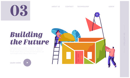 Team Builder Construction New Home Landing Page. Woman in Process Installation Roof House. Man to Lift Up Material. Project Building Future for Website or Web Page Flat Cartoon Vector Illustration