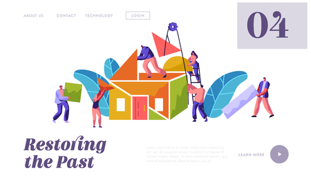 Team Builder Construction Home Website Template. Man and Woman Carry Part Material for Building. People in Process Installation Roof House for Website or Web Page Flat Cartoon Vector Illustration