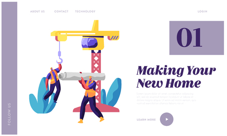Professional Builder in Uniform in Process Construction Landing Page. Worker in Hardhat Keep Crane. Man Carry Material for Building Work for Website or Web Page Flat Cartoon Vector Illustration Illustration