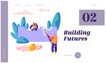 Professional Builder in Process Construction Brick Wall Website Template. Man Hold Paint Roller in Hand. Worker Build New Brickwork House for Website or Web Page Flat Cartoon Vector Illustration Illustration