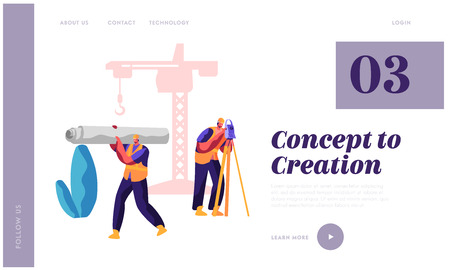 Professional Builder in Process Construction Landing Page. Man with Level Measure Distance. Workman Carry New Material for Build Work for Website or Web Page Flat Cartoon Vector Illustration