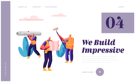 Professional Man Builder in Process Construction Website Template. Workman Carry Material for Build Work. Engineer Look at Blueprints. Design for Website or Web Page Flat Cartoon Vector Illustration
