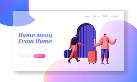 Man Character Arrive at Hostel Building with Bag Landing Page. International Budget Trip Concept Website or Web Page. People Booking Hotel for Holiday Flat Cartoon Vector Illustration Ilustrace
