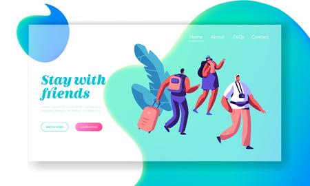 Man and Woman Character Arrive at Hostel Building with Backpack Landing Page. International Travel Concept. People Booking Hotel for Holiday Website or Web Page. Flat Cartoon Vector Illustration