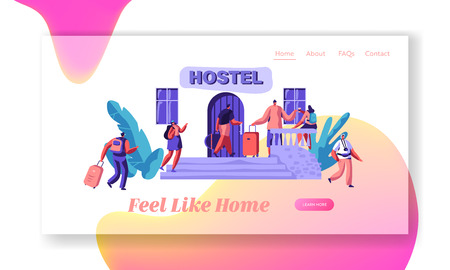 Group of People Character Arrive to Hostel Apartment Landing Page. Budget Traveling Accommodation Concept Website or Web Page. Rent Hotel for Holiday Flat Cartoon Vector Illustration