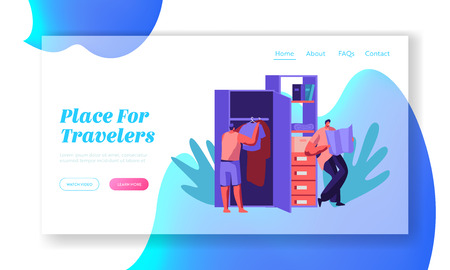 Hostel Apartment Interior with People Character Put Clothes in Wardrobe and Explore Map Landing Page. Joint Budget Accommodation Concept Website or Web Page. Flat Cartoon Vector Illustration