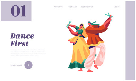 Indian Dancer Performing on Festival Landing Page. Male and Woman Dance in Costume in Exotic India. Lady in Sari Dancing on Asian Show Ceremony Website or Web Page. Flat Cartoon Vector Illustration