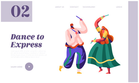 Dancer Woman Dancing on National Ceremony Landing Page. Asian Dance Performance on Indian Festival. Man Performer in Traditional Clothing Website or Web Page. Flat Cartoon Vector Illustration Archivio Fotografico - 121234076