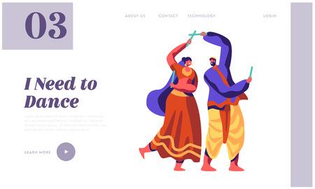Asiatischer Tanz beim National Festival in Indien Landing Page. Klassische Tanzshow. Mann-Tänzer, der Choreographie auf der zeremoniellen Performance-Website oder -Webseite durchführt. Flache Cartoon-Vektor-Illustration