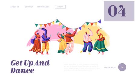 Indischer Volkstanz auf der Landing Page des Nationalen Festivals. Mann und Frau Tänzer bei Folk Asian Show. Nationale Tanzzeremonie in Indien Website oder Webseite. Flache Cartoon-Vektor-Illustration