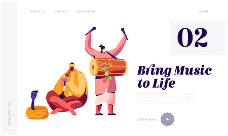 Indian Musician Playing Drum Dhol and Flute at Festival in Asia Landing Page. Man Hypnotize Cobra in Basket. Musical Instrument Concert Show Website or Web Page. Flat Cartoon Vector Illustration