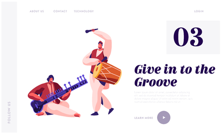 Indian Musician Playing Classical Musical Instrument Dhol and Sitar at Concert Landing Page. Performer Play Drum at Instrumental Musical Show Website or Web Page. Flat Cartoon Vector Illustration 向量圖像