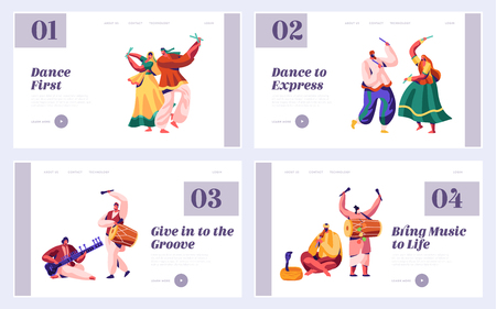 Music Festival in India Landing Page Set. Musician Playing Musical Instrument Dhol, Drum, Flute and Sitar at National Instrumental Ceremony Asia Website or Web Page. Flat Cartoon Vector Illustration Иллюстрация