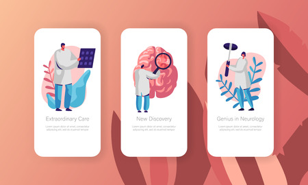 Neurological Examination Concept Mobile App Page Onboard Screen Set. Healthcare Technology. Neurologist Doctor Explore Tomography Result Website or Web Page. Flat Cartoon Vector Illustration  イラスト・ベクター素材
