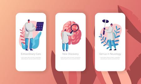 Neurological Examination Concept Mobile App Page Onboard Screen Set. Healthcare Technology. Neurologist Doctor Explore Tomography Result Website or Web Page. Flat Cartoon Vector Illustration Illustration