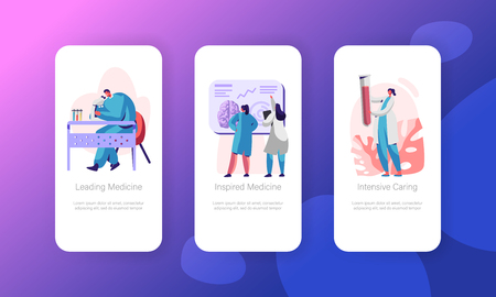 Medical Neurology Research Mobile App Page Onboard Screen Set. Healthcare Technology. Man Laboratory Explore in Microscope Website or Web Page. Intensive Medicine Flat Cartoon Vector Illustration