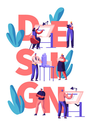 Professional Designer Teamwork Poster. Man and Woman Character Draw and Design Building Layout. Creative Apartment Planning. Modern Interior Concept Flat Cartoon Vector Illustration Illustration