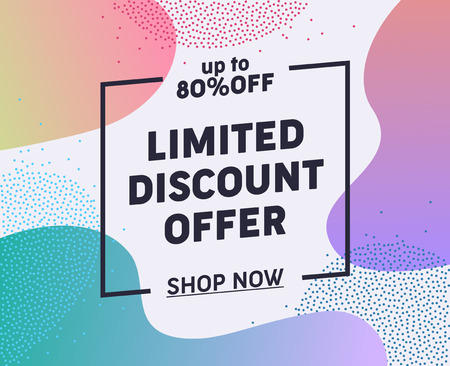 Weekend Limited Discount Offer Typography Banner. Great Sale at Special Rate for Potential Customer. Buy Present for Friend on Holiday and Lift Mood. Flat Cartoon Vector Illustration