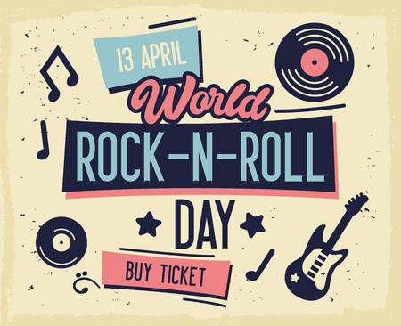 Rock Festival Poster. World Rock-n-Roll Day Banner with Guitar for Flyer, Brochure, Cover. Live Music Concert Design Template. Vector flat illustration