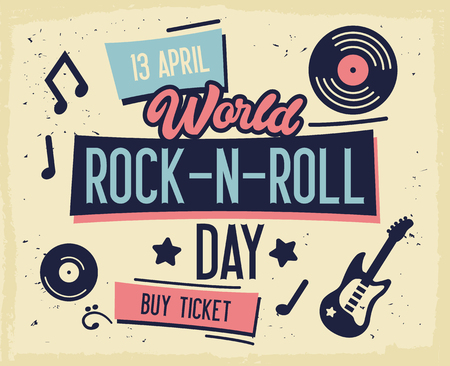 Rock Festival Poster. World Rock-n-Roll Day Banner with Guitar for Flyer, Brochure, Cover. Live Music Concert Design Template. Vector flat illustration