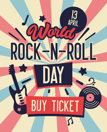 World Rock and Roll Day Typography Banner. Buy Ticket on Concert at Lowest Rate. Live Music with Electric Guitar and Place for Text on Back Background. Flat Cartoon Vector Illustration 向量圖像
