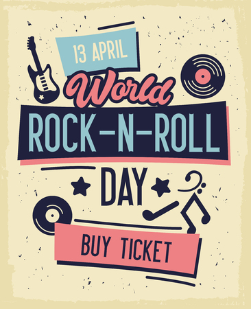 Rock and Roll Concert Day Typography Banner. Buy Ticket on Concert at Special Offer. Metal and Punk Music and Cool Effect in Background this Evening. Flat Cartoon Vector Illustration 向量圖像