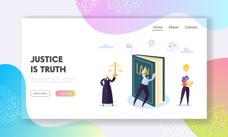 Justice is Truth Landing Page. Judge Issues Ruling at Hand Based Interpretation of the Law and Own Personal Judgment. Settle Legal Dispute Website or Web Page. Flat Cartoon Vector Illustration 向量圖像