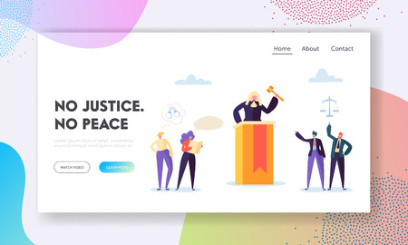 Justice is Peace Landing Page. Judge Hears Evidence Presented, Assess Credibility and Ruling at Hand Based Interpretation of the Law Website or Web Page. Flat Cartoon Vector Illustration