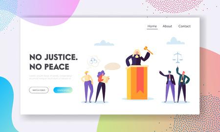 La justicia es la página de inicio de la paz. El juez escucha la evidencia presentada, evalúa la credibilidad y la resolución a mano Interpretación del sitio web o página web de la ley. Ilustración de vector de dibujos animados plana
