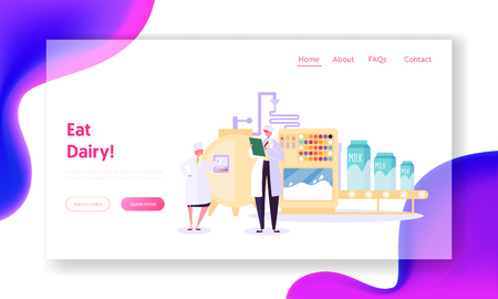 Processing Milk Factory Landing Page. Efficiency of Production Agricultural Husbandry Enterprise. Character Processing and Retail Sale Website or Web Page. Flat Cartoon Vector Illustration