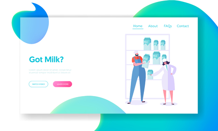 Milk Retail Sale Landing Page. Cow Produce, Character Processing on Factory and Sending to Store Counter in Glass Bottle for Customer Website or Web Page. Flat Cartoon Vector Illustration Foto de archivo - 123179824