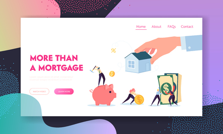 Real Estate Mortgage Lending Landing Page. Character Raise Funds to Buy House or for Purpose while Putting a Lien on Property Being Pledge Website or Web Page. Flat Cartoon Vector Illustration Illusztráció