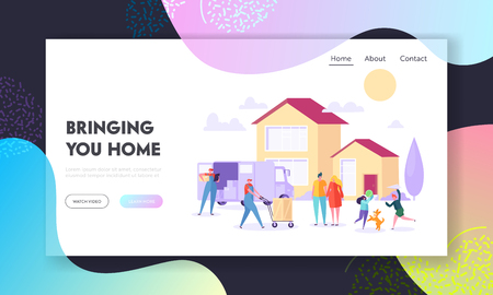 Bringing Home Landing Page. Supply Large Household Good by Package Delivery Truck from Manufacturer to Residential House. Courier Service Website or Web Page. Flat Cartoon Vector Illustration