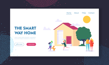 Smart Way Home Landing Page. Children Playing Ball Game with Dog. Married Couple near Residential House. Family Weekend in Countryside Website or Web Page. Flat Cartoon Vector Illustration Illusztráció