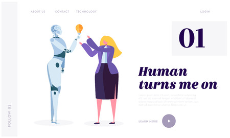 Human Turn on Robot Landing Page. Development Robotic is Future of World. Artificial Intelligence, Machine Learning and Computational Neuroscience Website or Web Page. Flat Cartoon Vector Illustration Reklamní fotografie - 123179828