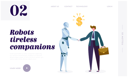 Robot Tireless Companion Landing Page. Intrinsic Motivation Push Machine to Search for Novelty, Challenge, Compression or Learning Progress Website or Web Page. Flat Cartoon Vector Illustration