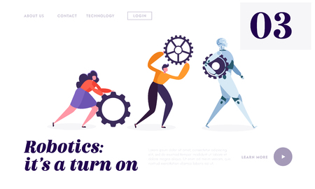 Technical Service Robot Landing Page. Special Crew of Maintenance Machine. Character Moving Replacement Part for Change Useless Detail of Bot Website or Web Page. Flat Cartoon Vector Illustration