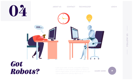 Robot Working All Time Landing Page. Character Sleeping on Workplace. Machine can Process Information Constantly Without Stopping Website or Web Page. Flat Cartoon Vector Illustration