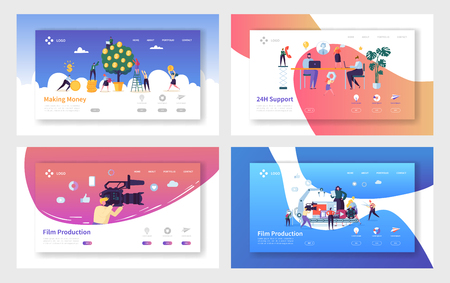 Film Production Making Money Landing Page Set. Technical Client Support Whole Day, Character Increase of Capital, Operator Shoots Video Website or Web Page. Flat Cartoon Vector Illustration