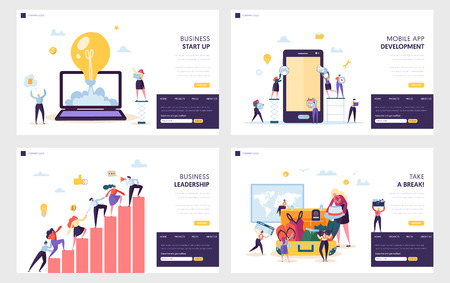 Business Start Up Landing Page Set. Mobile App Development, Leadership Practical Skill for Guide Team, Vacation after Heavy Work Website or Web Page. Flat Cartoon Vector Illustration Stock Illustratie