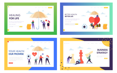 Better Health for Life Landing Page Set. Treatment for Whole Family. Business Strategy Make Strong Company and Increase Capital of Organization Website or Web Page. Flat Cartoon Vector Illustration Stock Illustratie