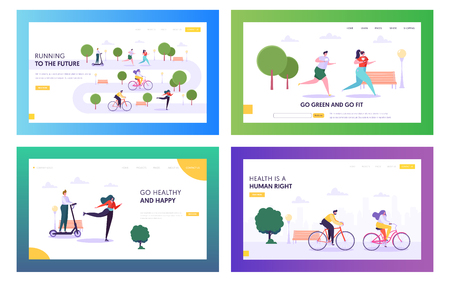 Health is Human Right Landing Page Set. Lifestyle Character Riding Bike, Rollers and Scooter in Park. Happy People Running to Healthy Future Website or Web Page. Flat Cartoon Vector Illustration