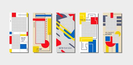 Redes sociales Story Time to Relax Página de la aplicación móvil a bordo Conjunto de pantallas. Diseño moderno Bauhaus. Sitio web o página web de fondo de redes sociales. Ilustración de vector de dibujos animados plana