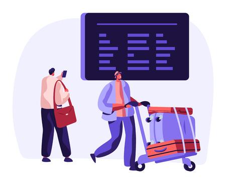 Viajero con equipaje Observe el horario de vuelos en el horario del aeropuerto. Concepto de viaje de vacaciones de avión con personajes de hombre con equipaje y tablero de información. Ilustración vectorial plana