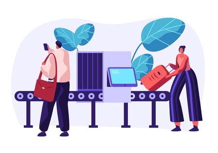 Airport Security Conveyor Belt Scanner. Terminal Checkpoint Metal Detector with Traveler Characters and Baggage. Passengers Check Luggage on X-ray. Vector flat illustration Çizim