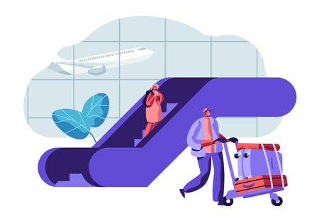 Traveler Passengers Waiting for Departure in Airport. People Characters with Baggage in Airport Terminal and Flying Plane. Vector flat illustration