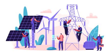 Energieversorgung des Stromversorgers an den Verbraucher. Stromübertragung und -verteilung. Charakter Installation Sonnenkollektor und Wartung Windturbine. Flache Cartoon-Vektor-Illustration Vektorgrafik