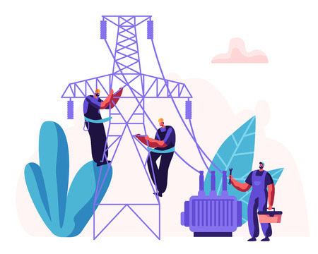 Electrician Workers Repairing Power Line. Electrical Facilities Concept with Repairman Engineer in Uniform at Wiring Maintenance Work. Vector flat illustration